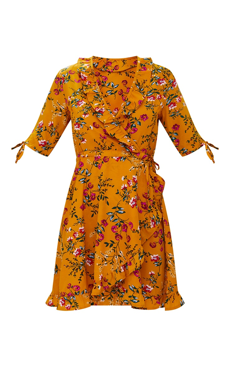 Mustard Floral Frill Wrap Dress 3