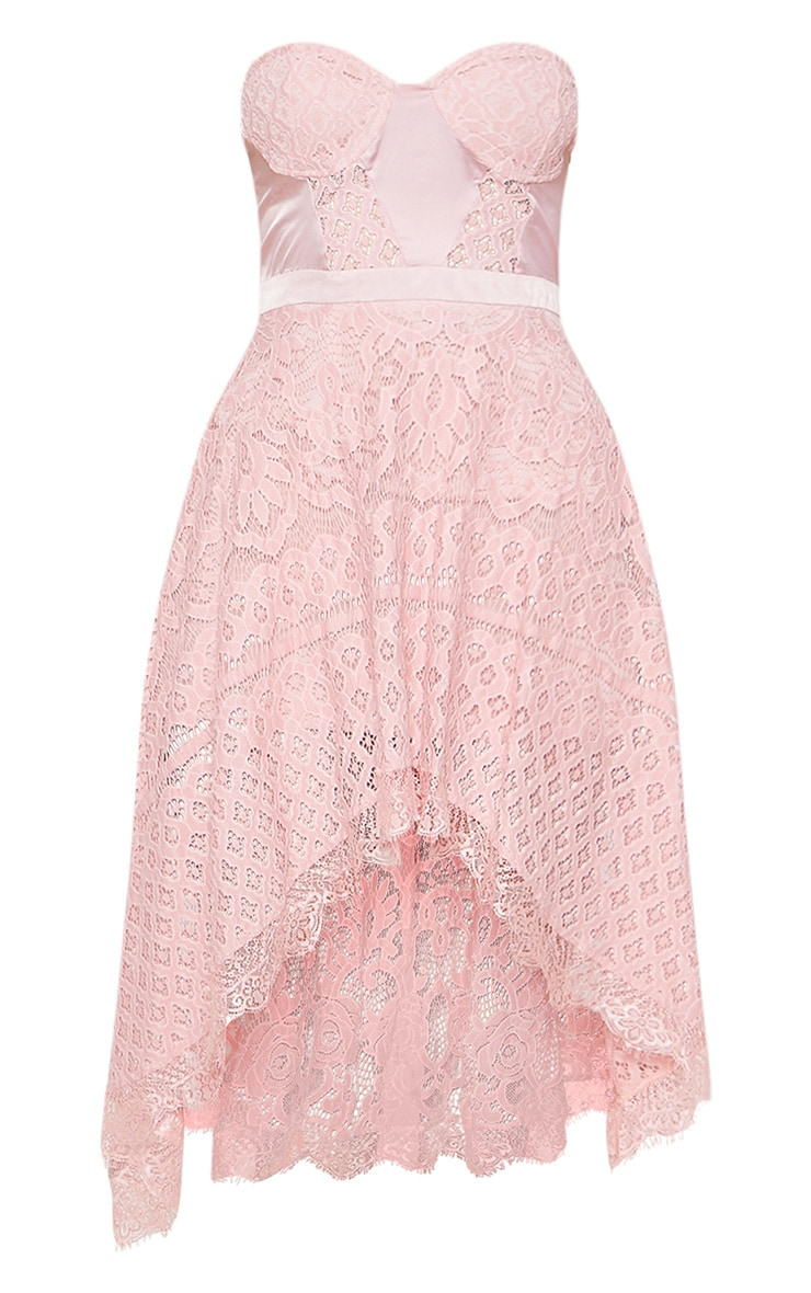 Rose Lace Bandeau Dipped Hem Midi Dress 3