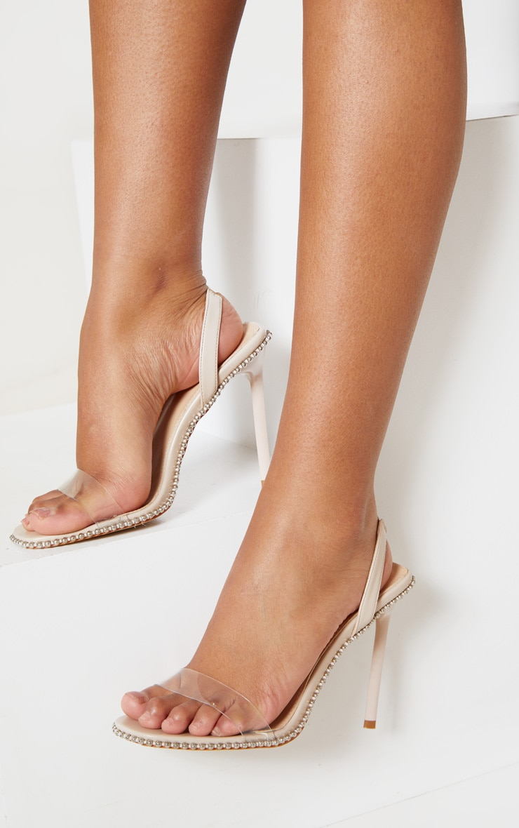 Nude Slingback Clear Studded Sandal 1