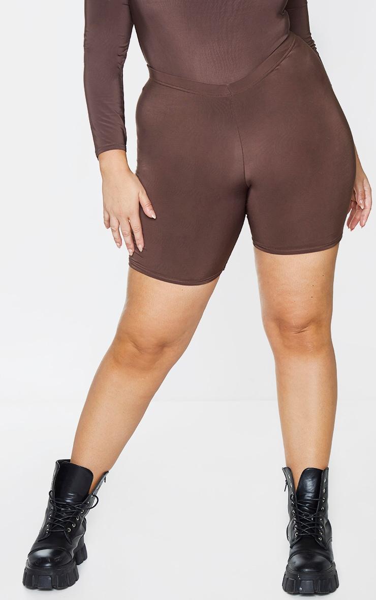 Plus Dark Brown Slinky Cycle Shorts 2