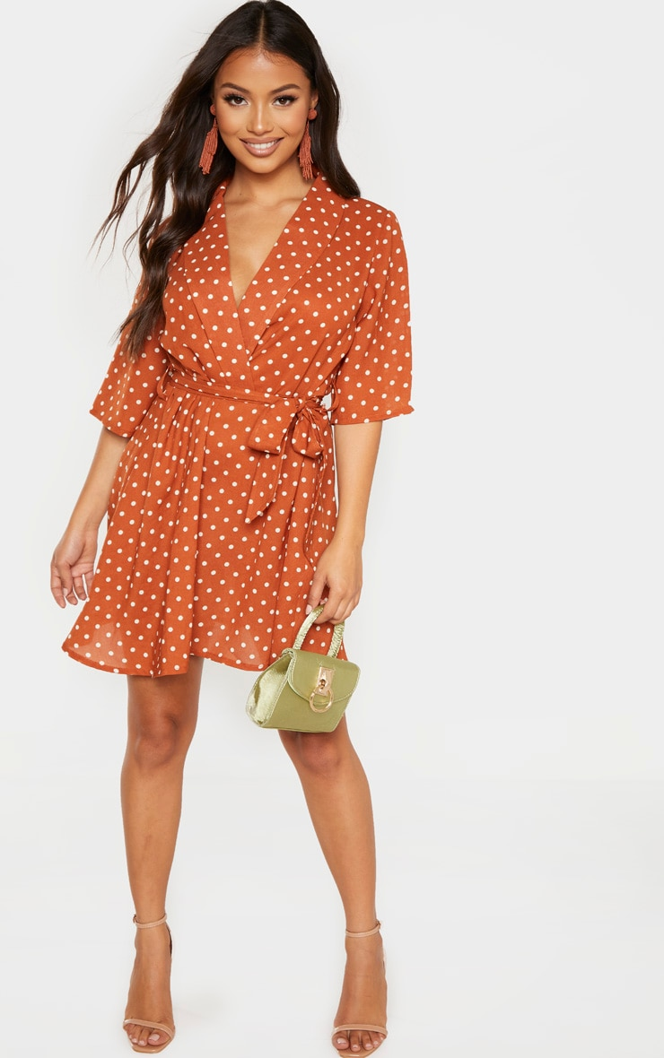 Petite Terracotta Polka Dot Tea Dress 4