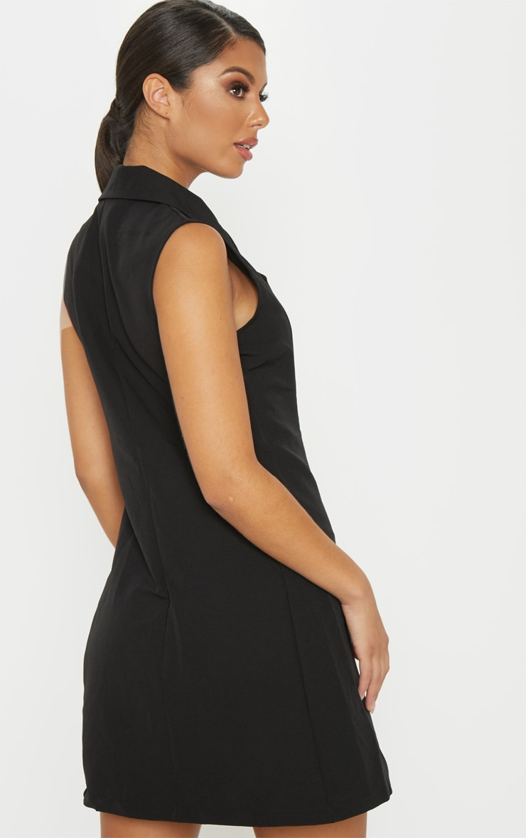Black Sleeveless Blazer Dress 2