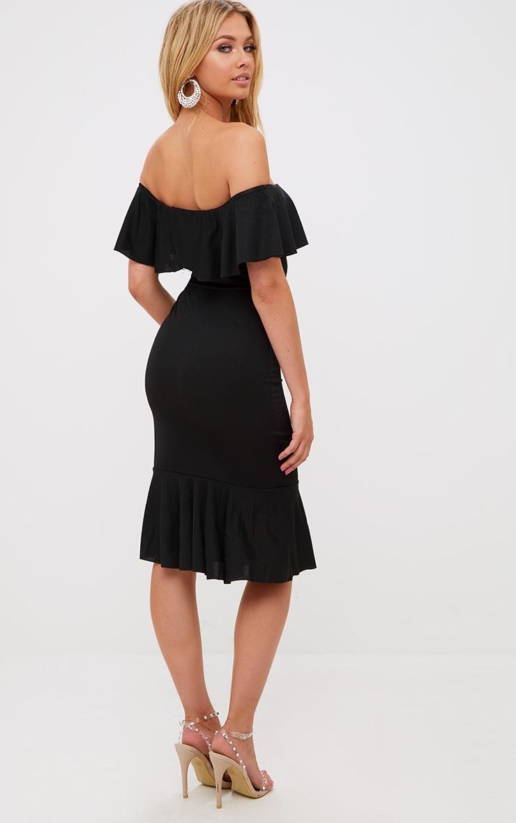 Black Frill Detail Bardot Midi Dress 2