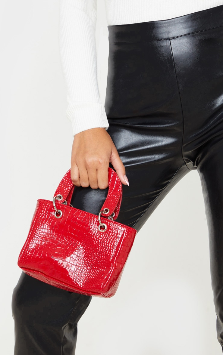 Red Patent Croc Ring Detail Mini Handbag 1