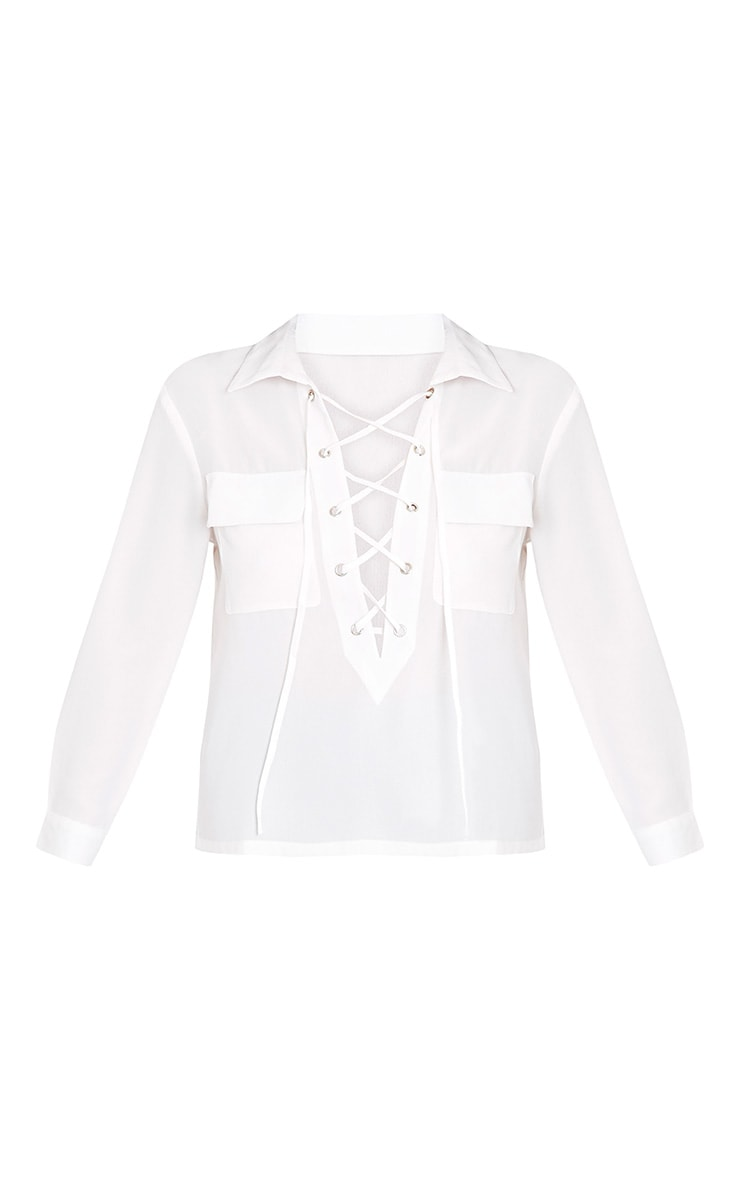 Yazmin Cream Lace Up Pocket Shirt 3