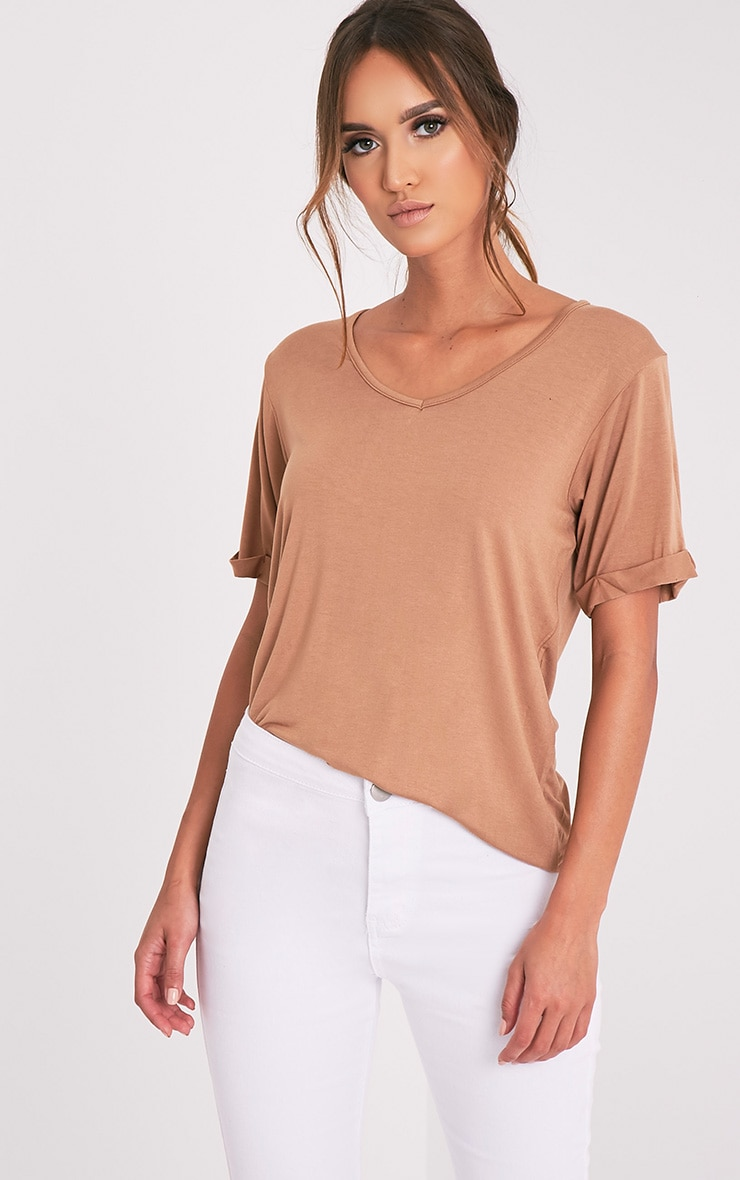 Basic Camel V Neck Oversized T-Shirt 5