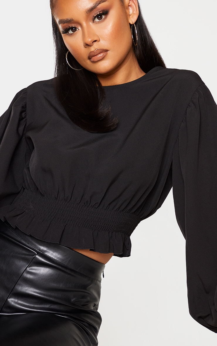 Black Woven Puff Sleeve Ruched Waist Blouse  4