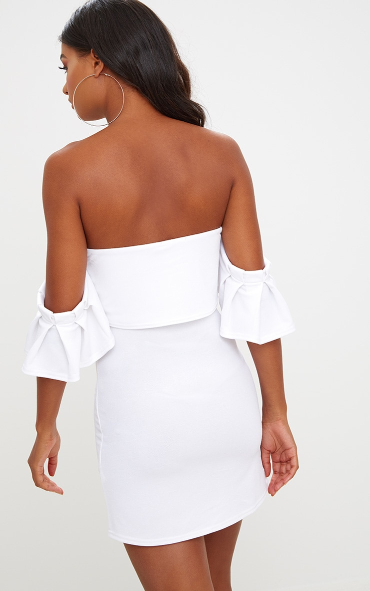 White Ruffle Sleeve Overlayer Bardot Bodycon Dress 2
