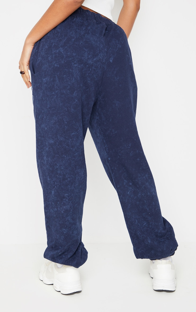Navy Washed Health Club Embroidered Casual Joggers 3