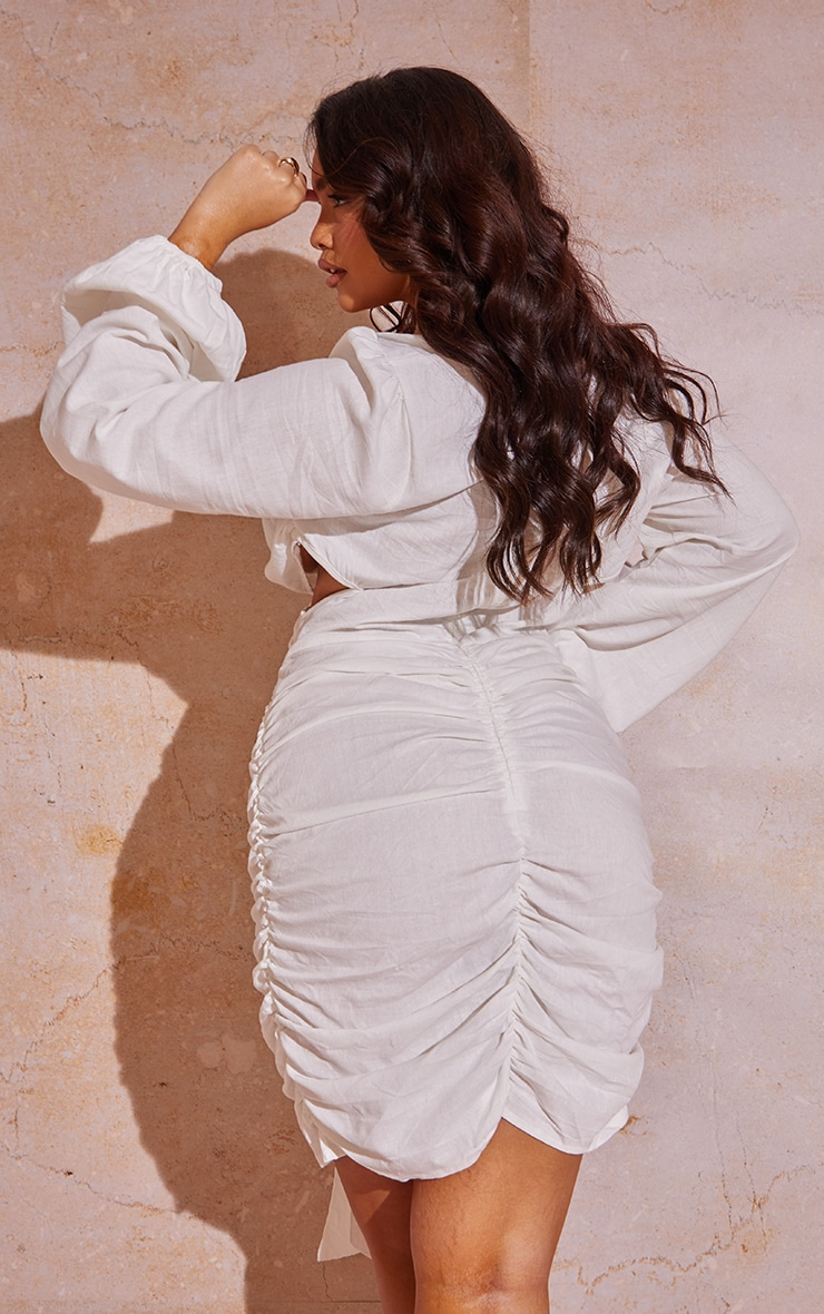 Plus White Cut Out Ruched Balloon Sleeve Bodycon Dress 2