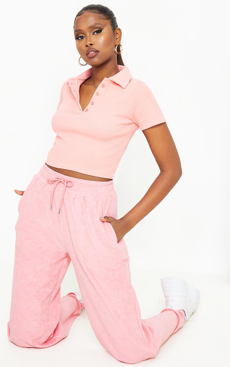 Bubblegum Pink Rib Button Up Short Sleeve Polo Shirt 3