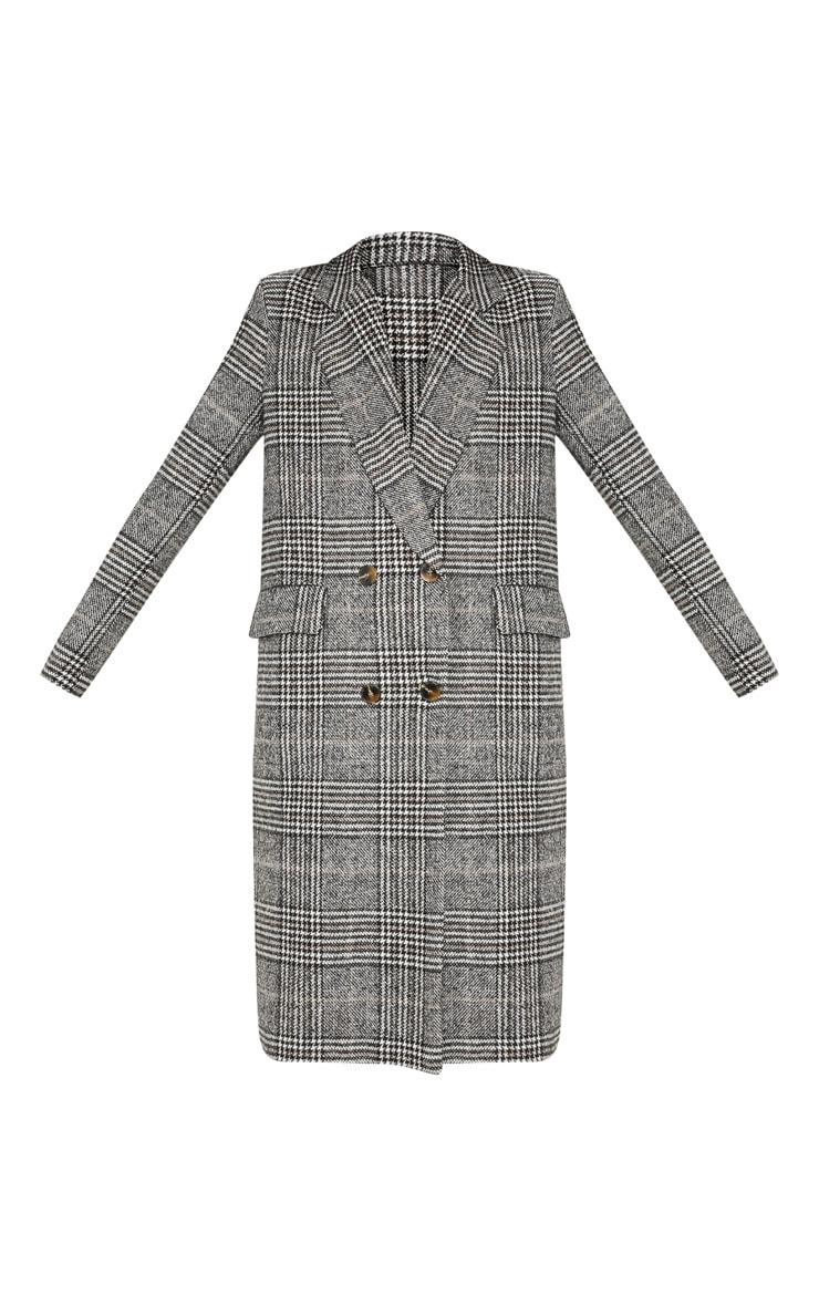 Black Oversized Check Coat 3