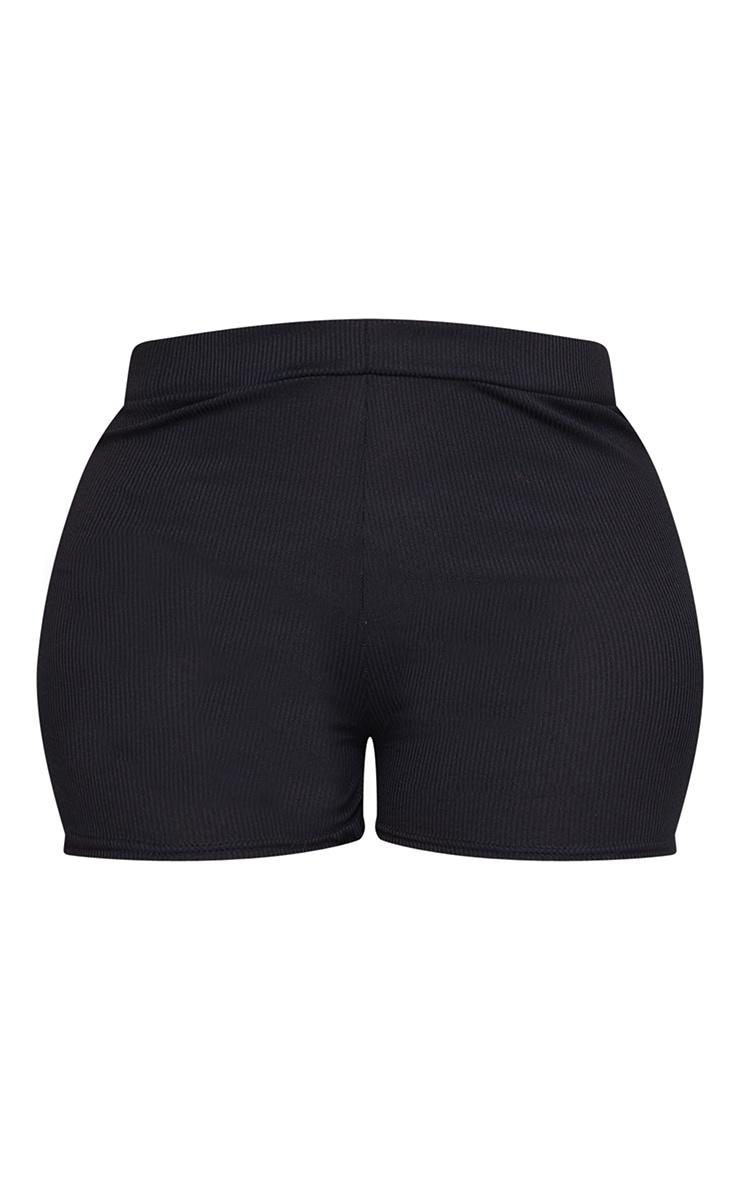 Plus Black Soft Rib Mini Lingerie Short 6