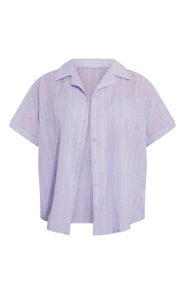Blue Mix And Match Wide Stripe Cotton Short Sleeve PJ Shirt 5