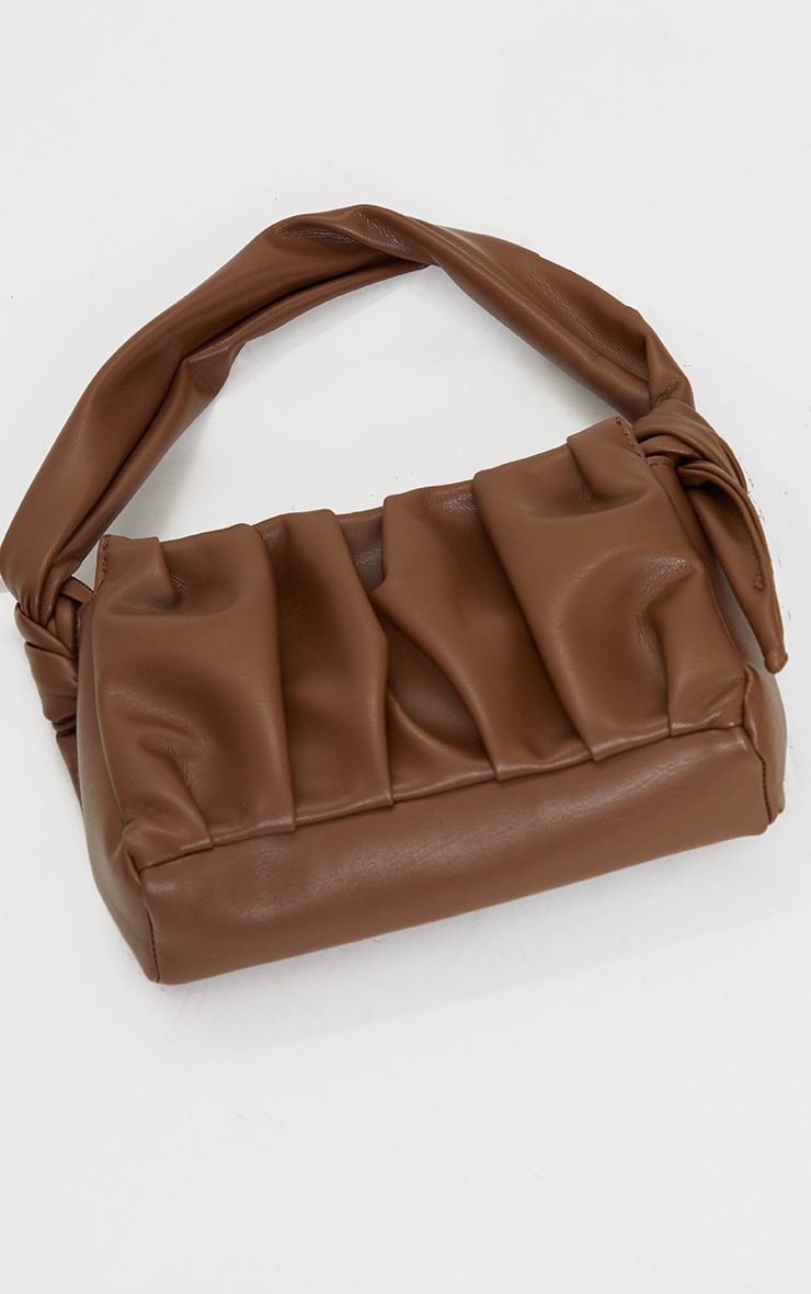 Chocolate Pleated Front Shoulder Bag 2
