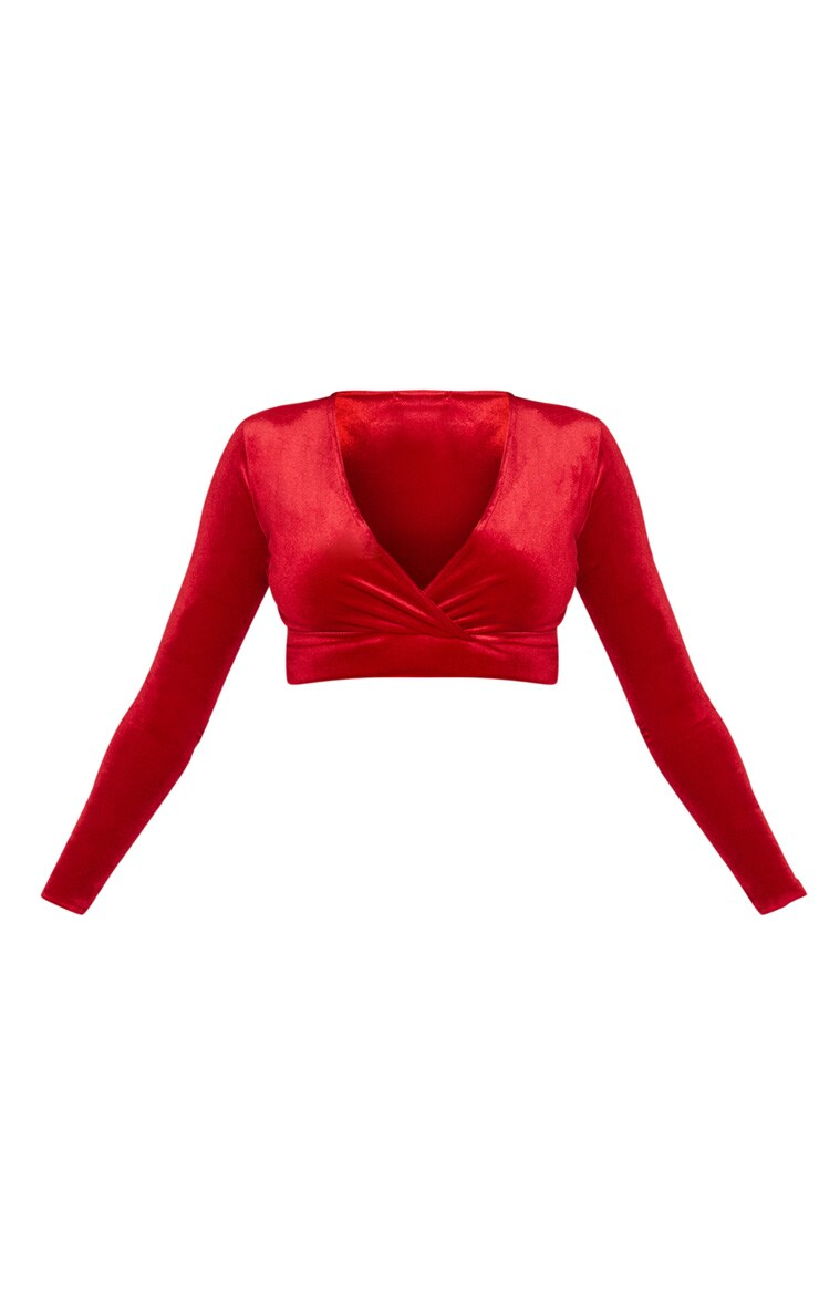 Red Long Sleeve Wrap Velvet Crop Top 3