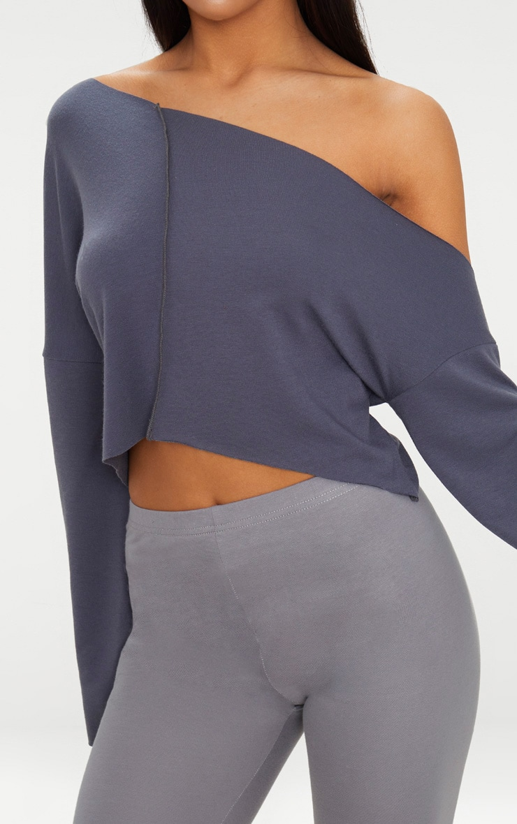 Charcoal Blue Off Shoulder Sweater 6