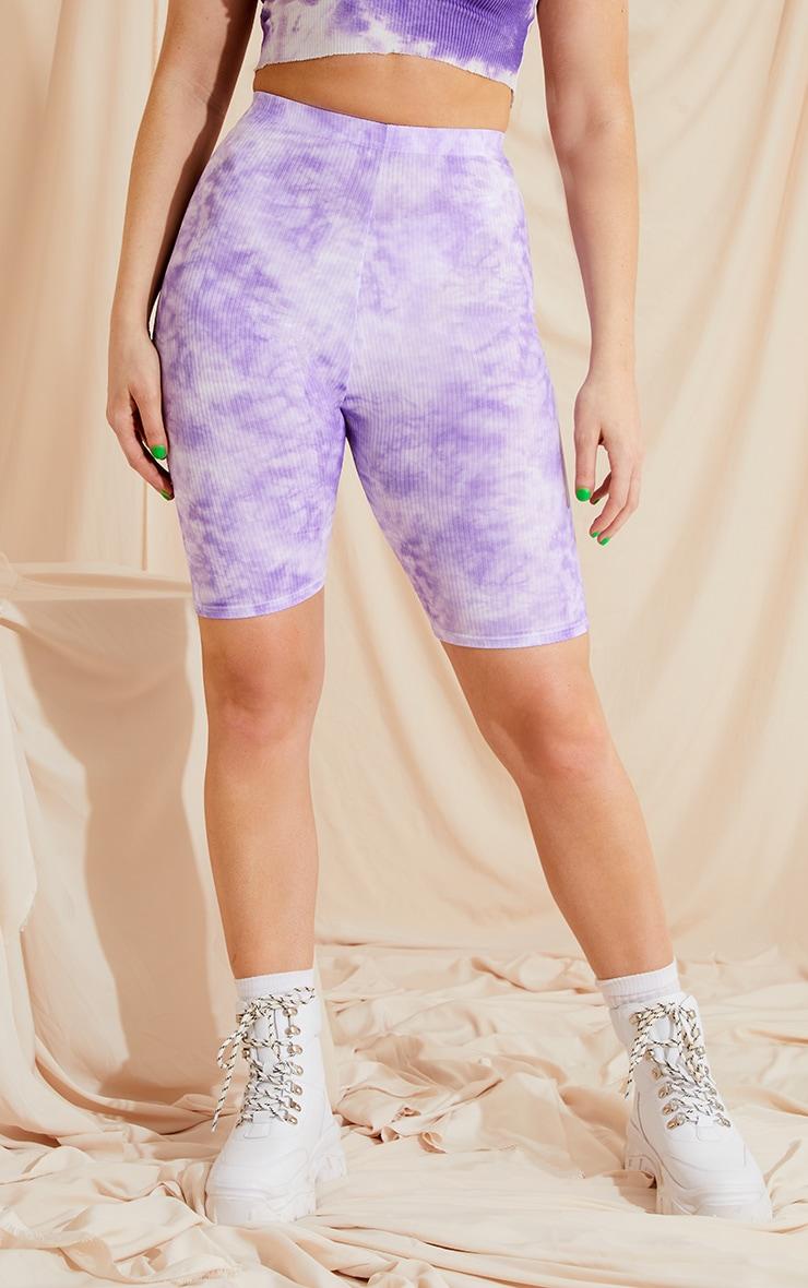 Lilac Tie Dye Rib Bike Shorts 4