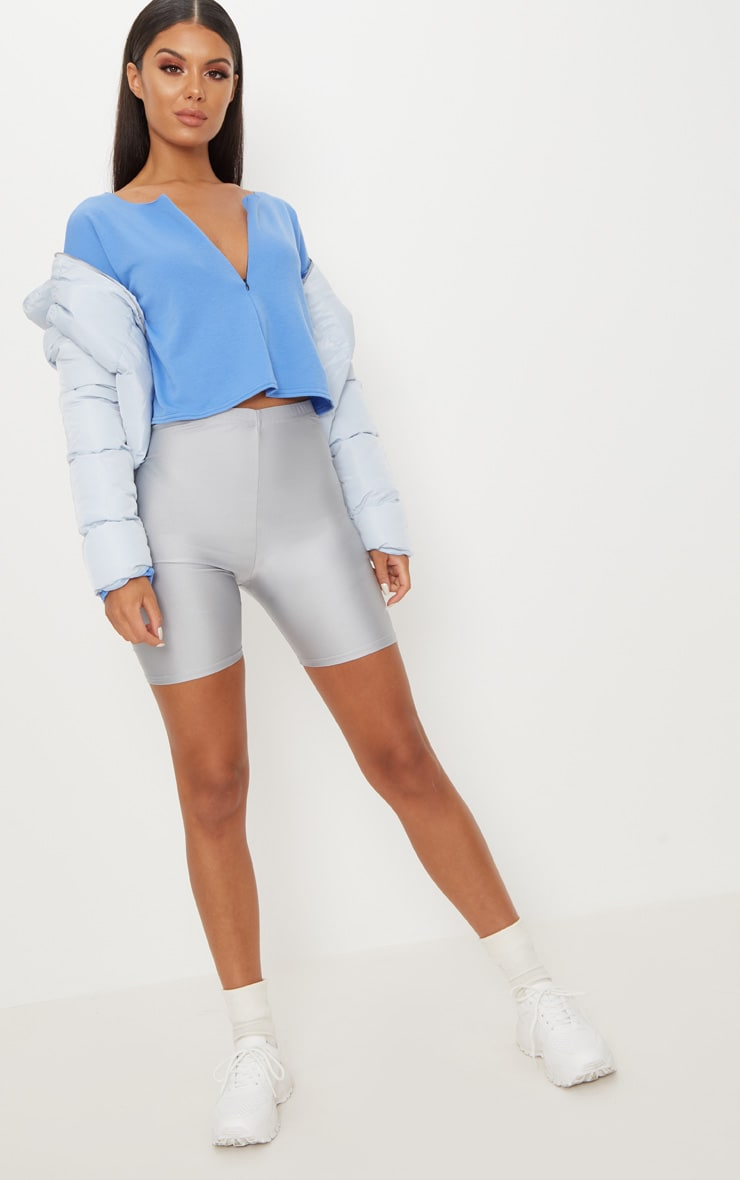 Powder Blue Zip Front Sweater 5