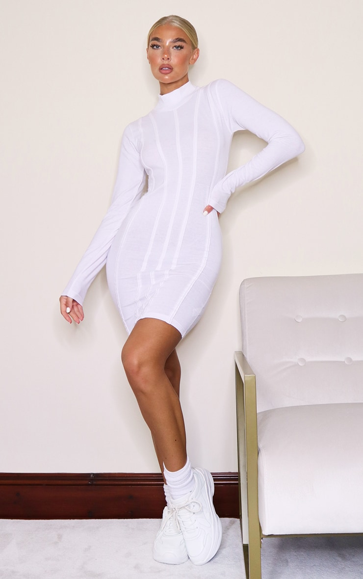 White High Neck Binding Detail Long Sleeve Bodycon Dress 3