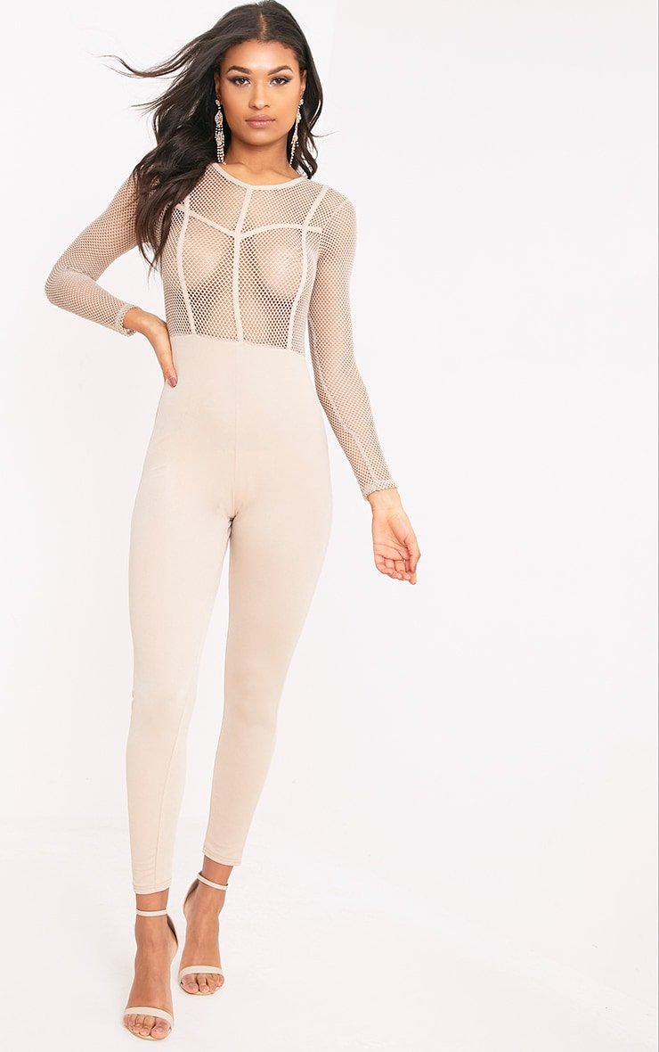 Sena Nude Fishnet Jumpsuit  1