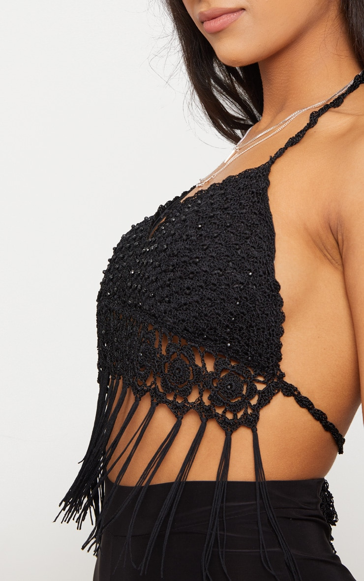 Black Beaded Crochet Tassel Hem Bralet 4