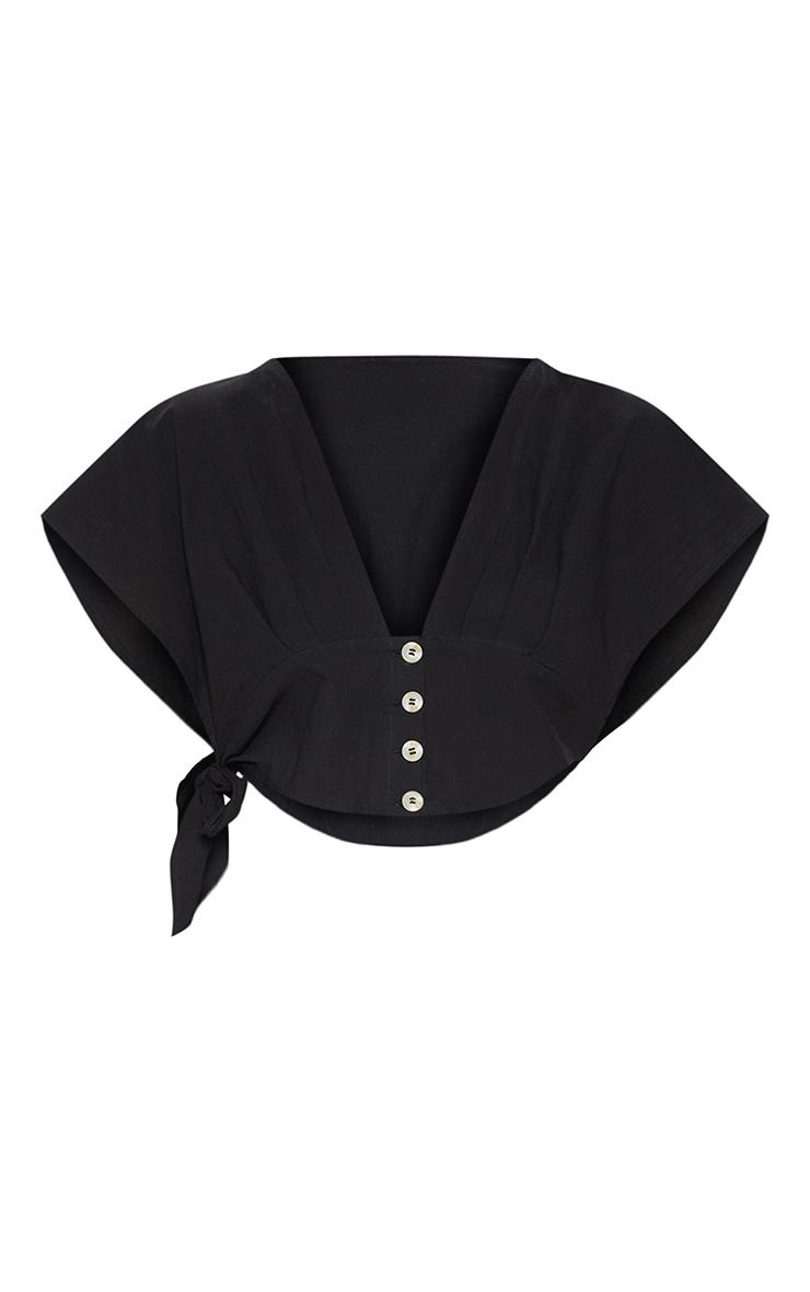 Black Button Down Tie Side Blouse 3