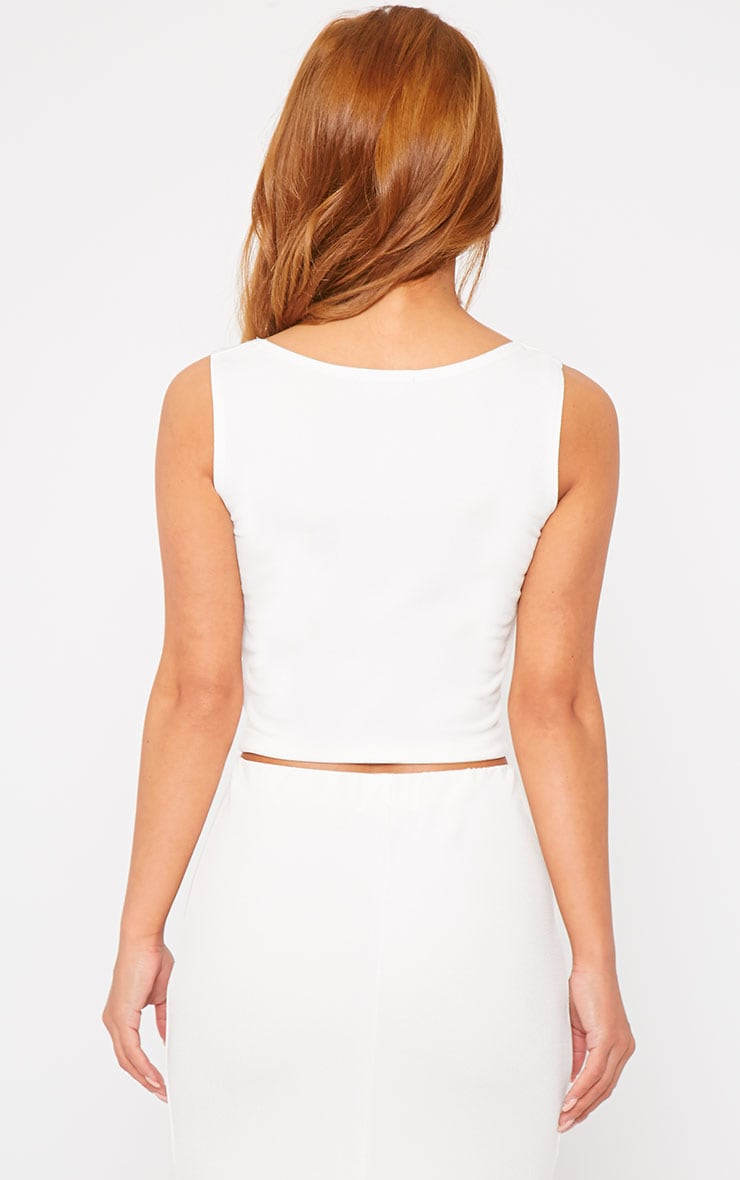 Zuri Cream Crepe Sleeveless Knot Front Crop Top 2