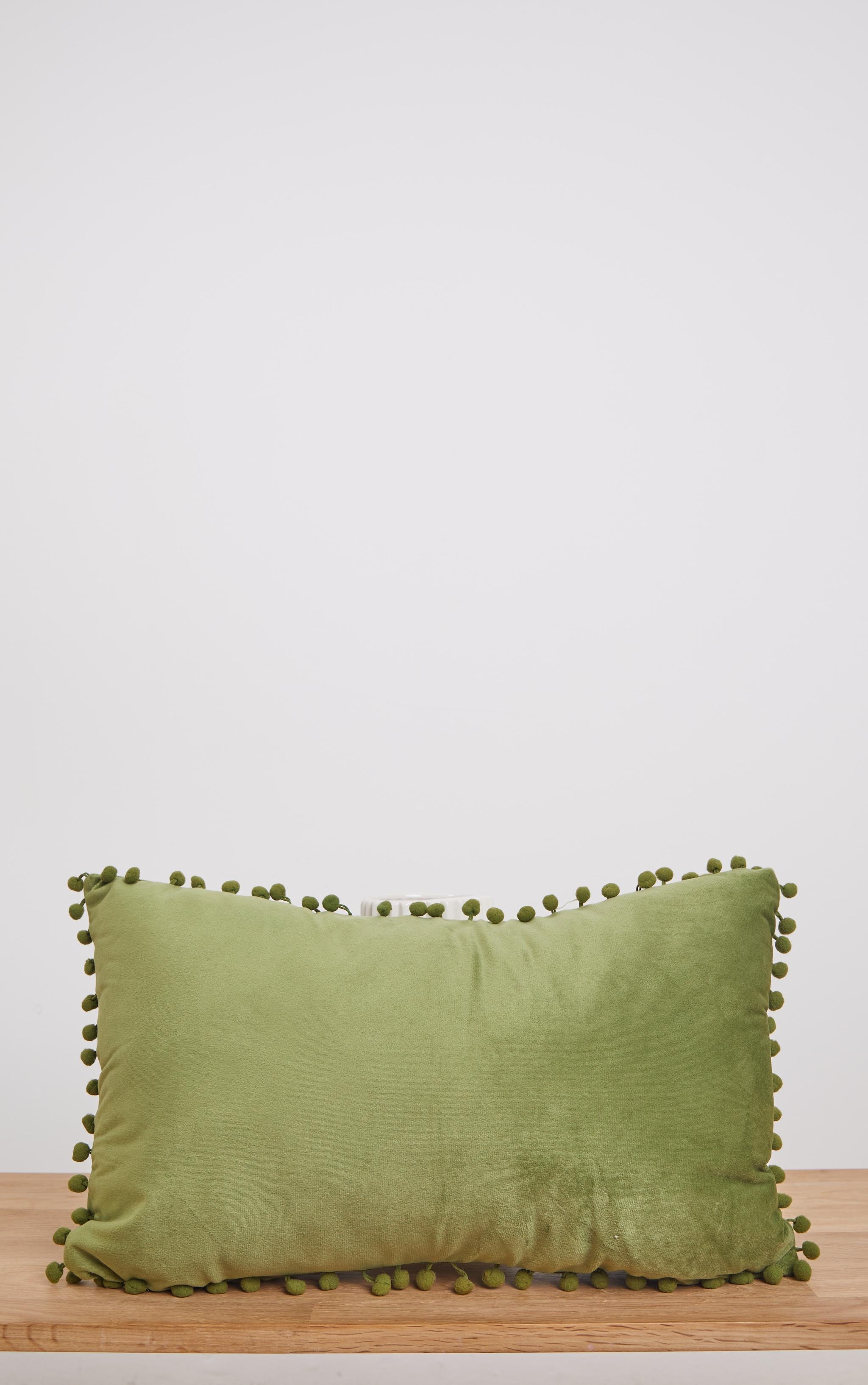 Sage Velvet Pom Pom Cushion 1