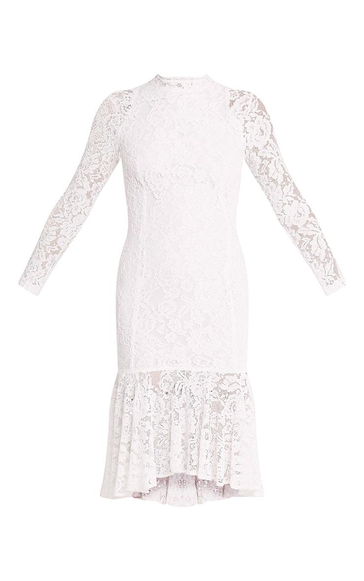 Ellina Premium robe sirène midi en dentelle blanche 3