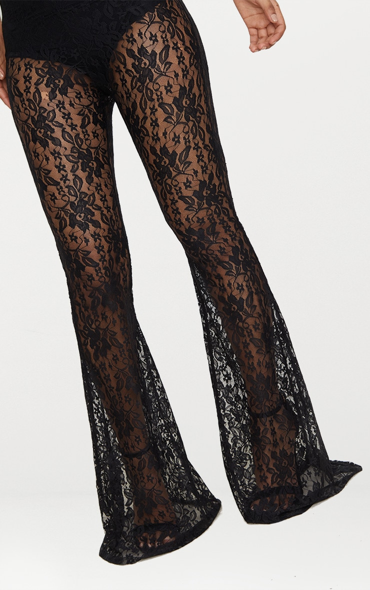 Petite Black Lace Flared Trousers 5