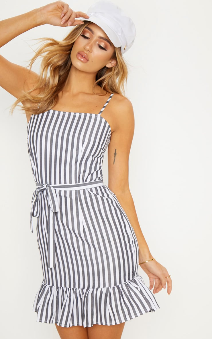 Black Stripe Print Frill Hem Strappy Bodycon Dress