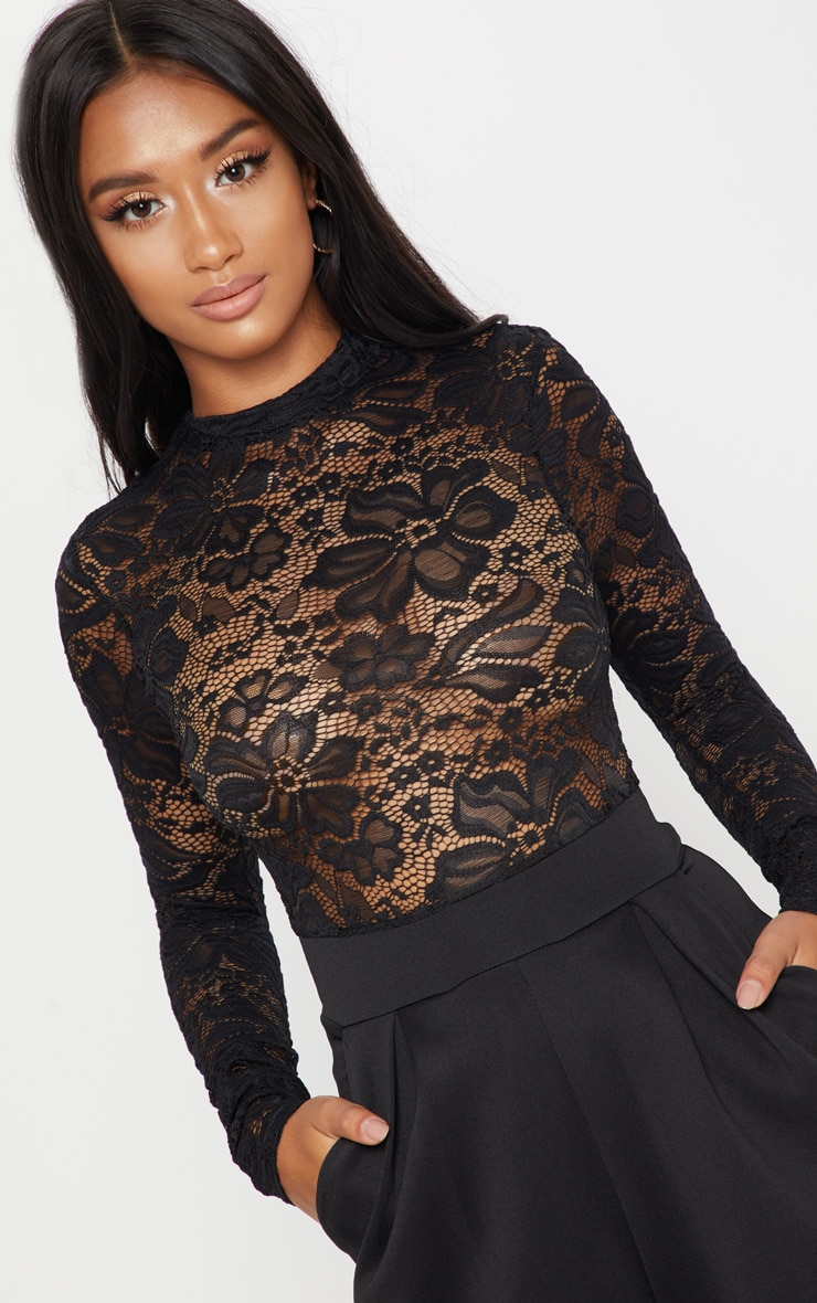 Petite Black Lace High Neck Long Sleeve Jumpsuit 5
