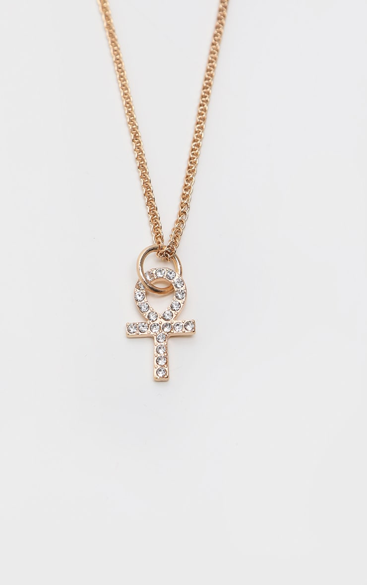 Gold Diamante Mini Ankh Necklace 3