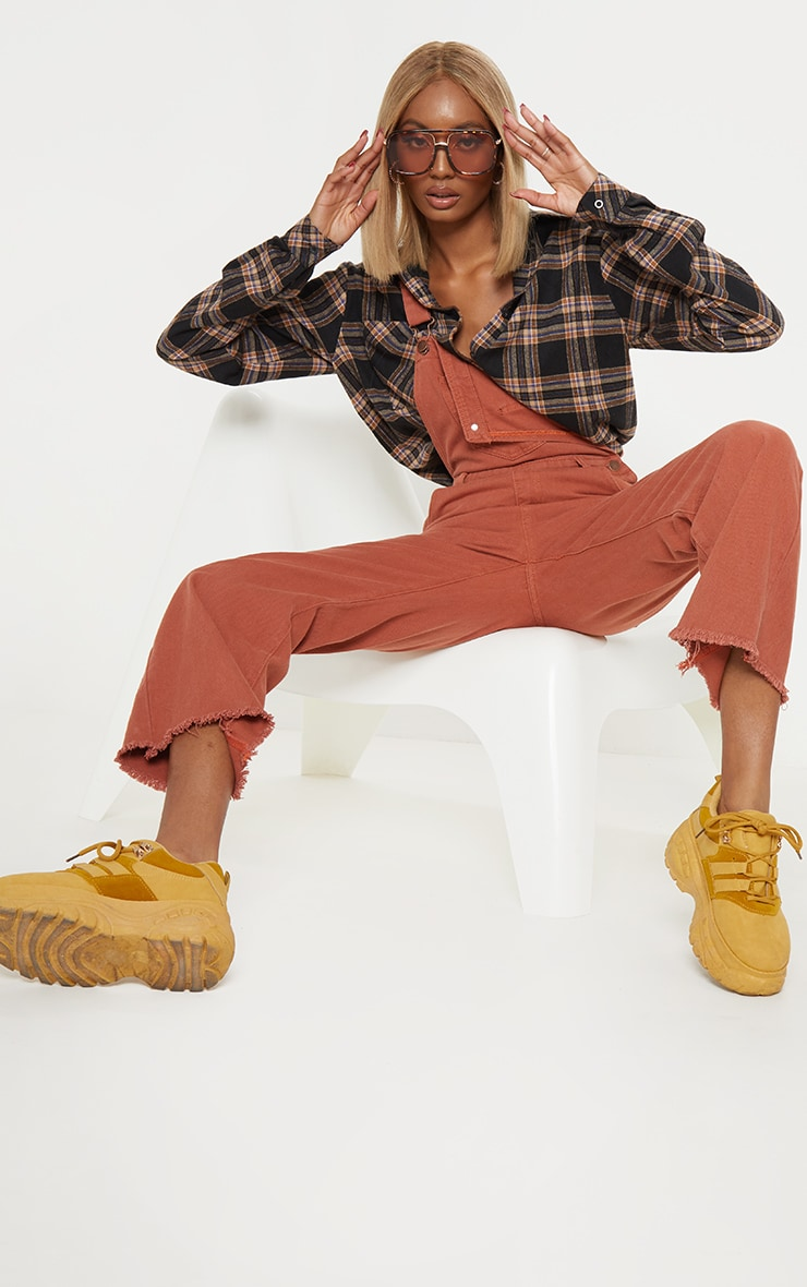 Rust Cropped Dungarees