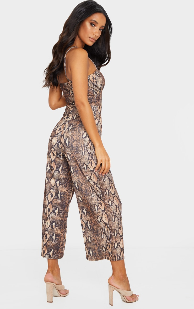 Tan Snake Print Ruched Bust Strappy Culotte Jumpsuit 2
