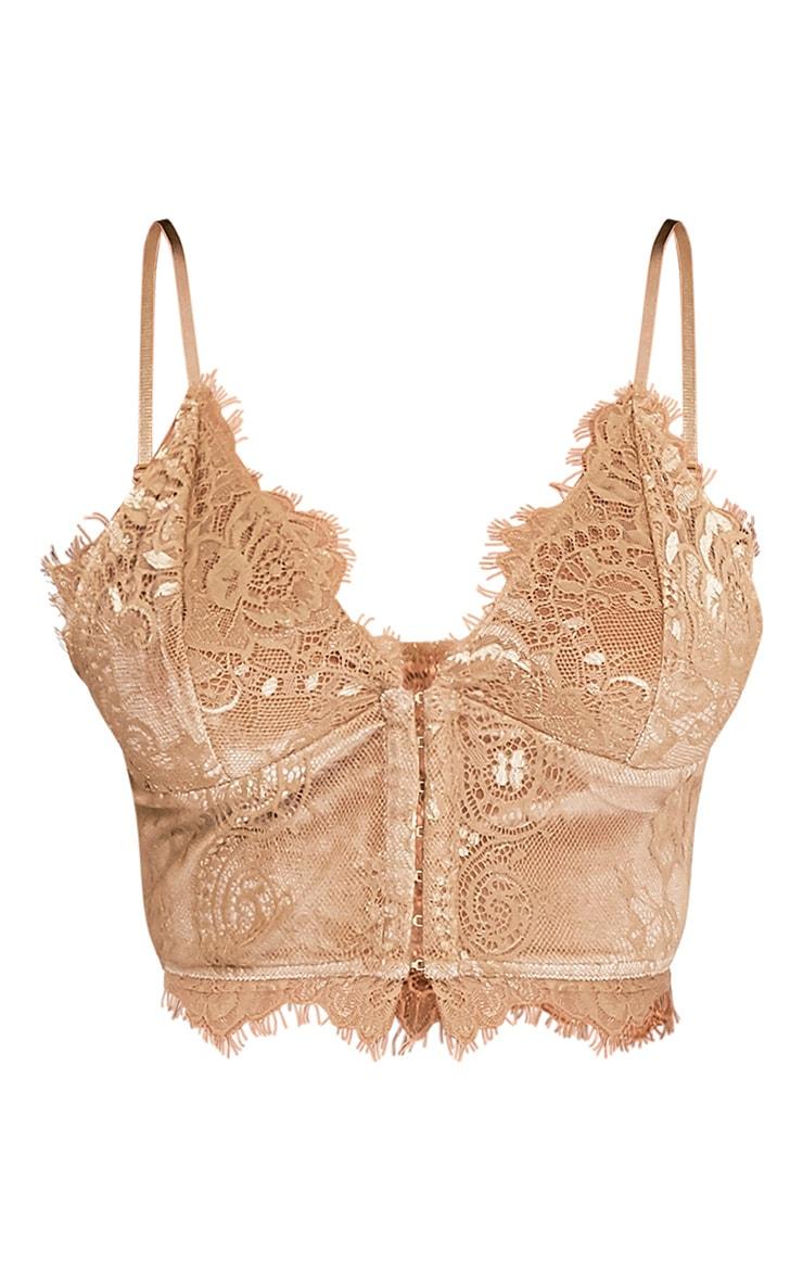Hannah brassière corset en dentelle dorée 3