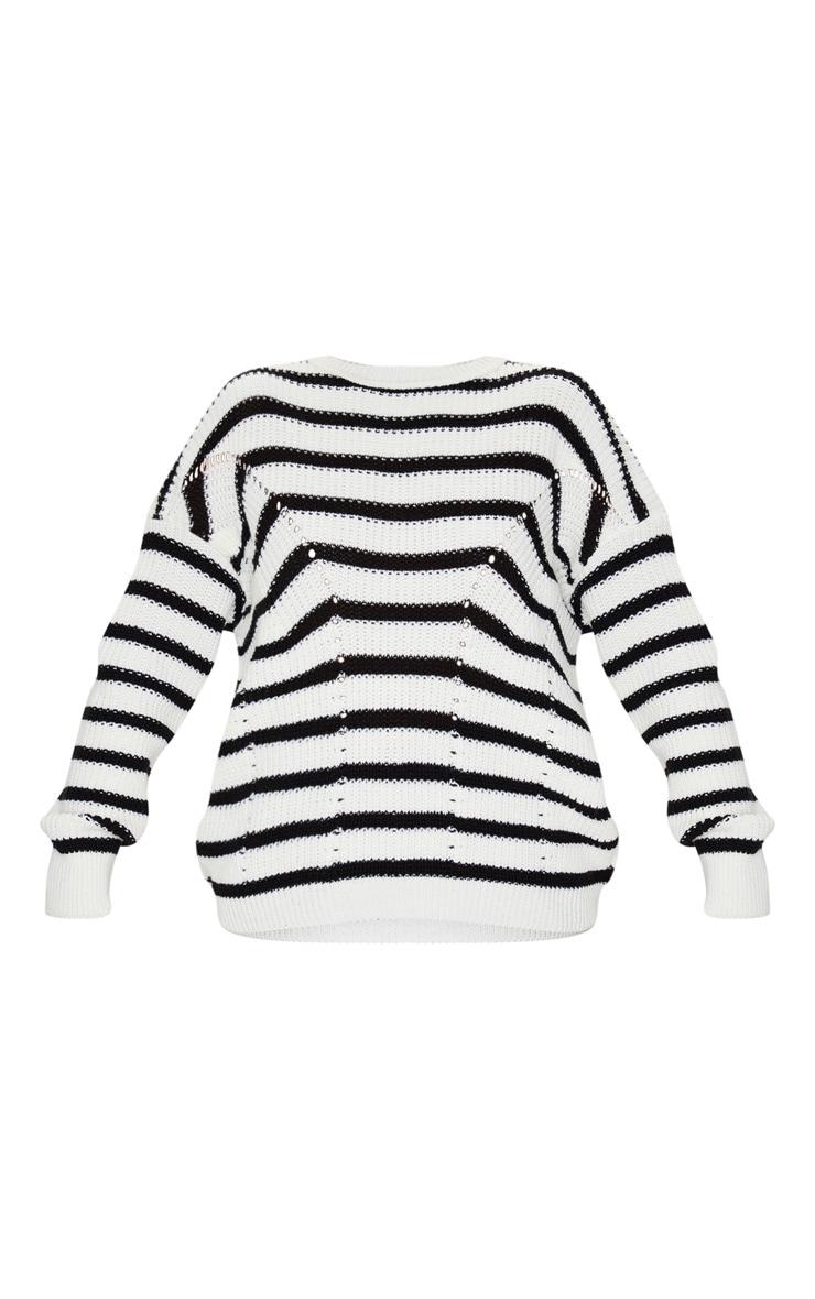 Monochrome Pointelle Detail Stripe Knitted Sweater 3