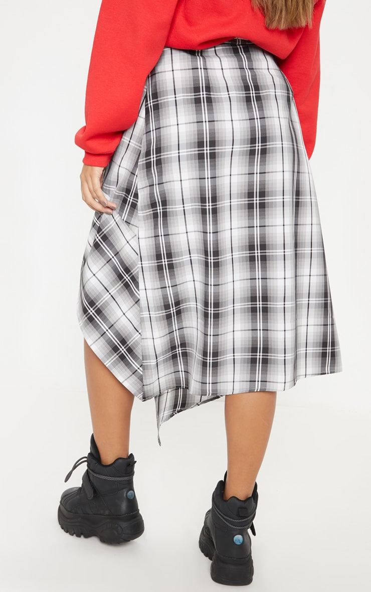 Grey Asymmetric Check Wrap Midi Skirt  4