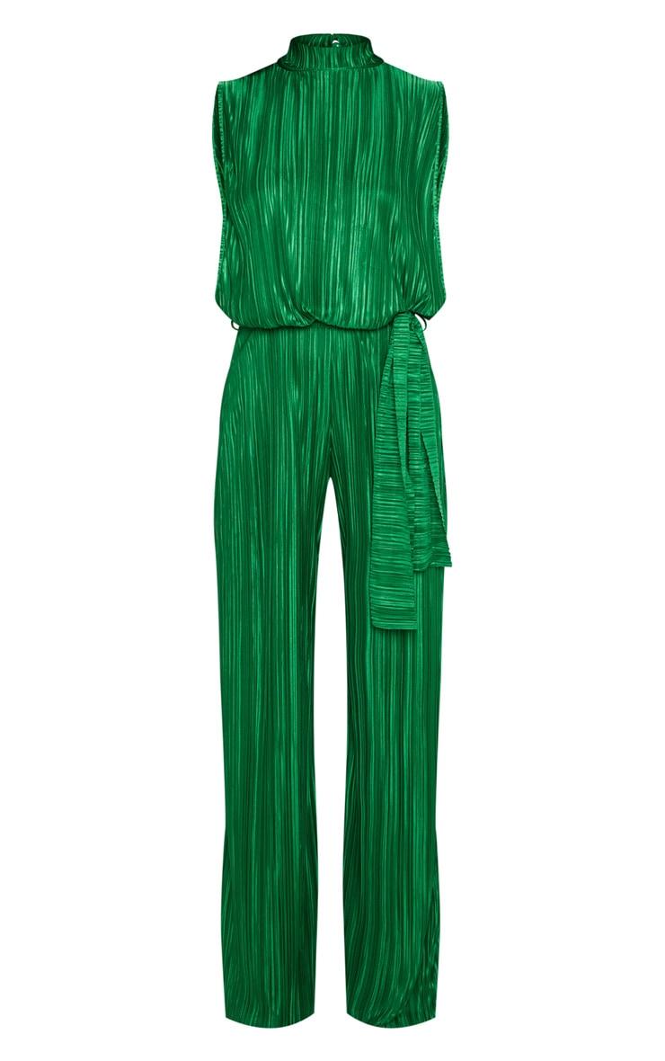 Petite Emerald Green Plisse Tie Waist High Neck Sheer Jumpsuit 3