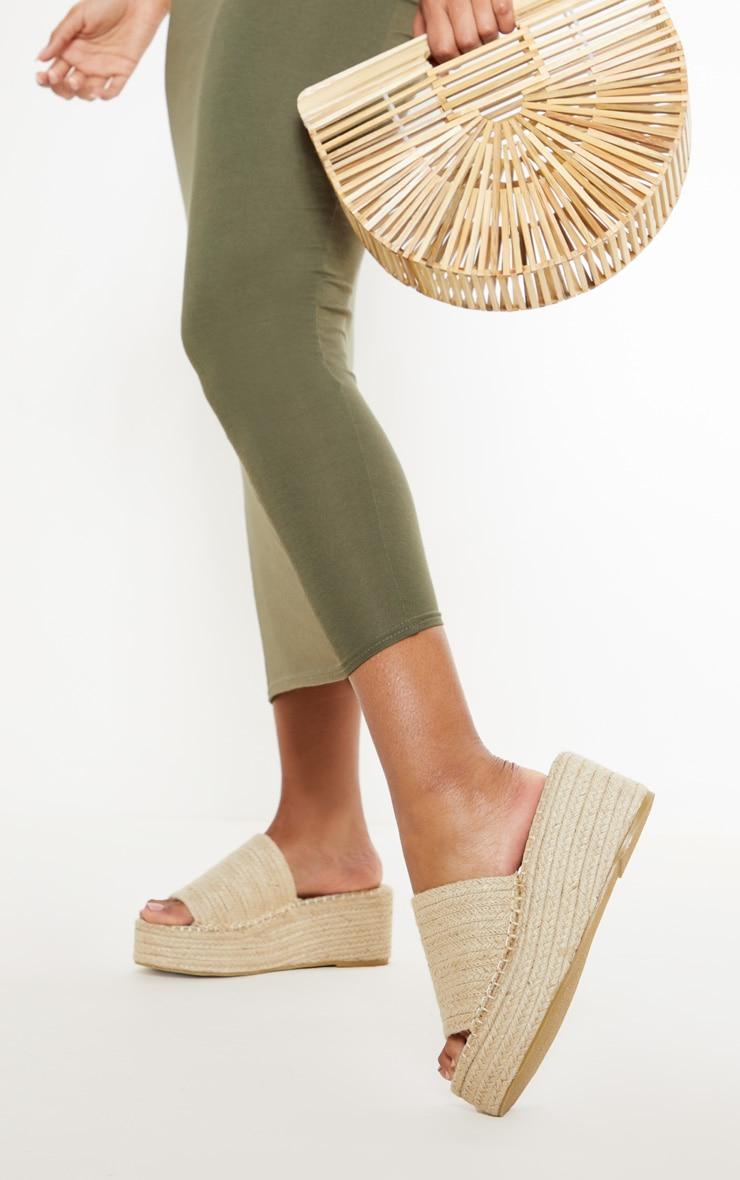 Natural Espadrille Mule Flatform Sandal 3