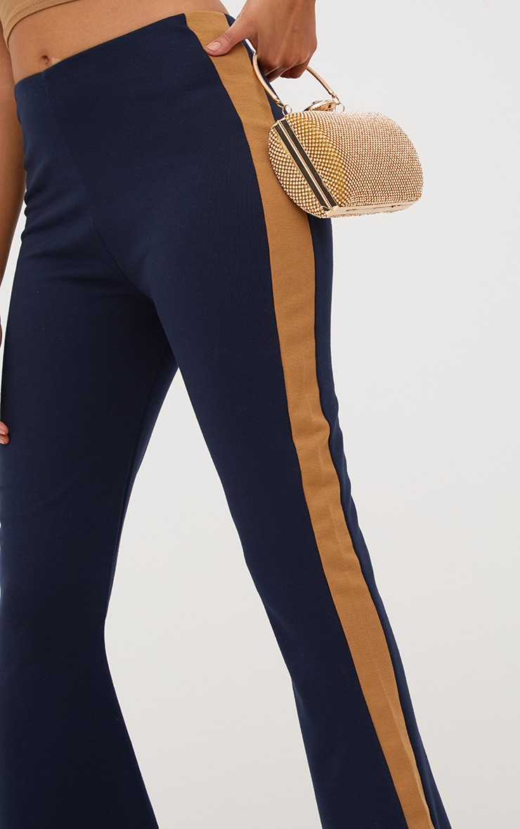 Navy Track Stripe Kick Flare Trousers 5