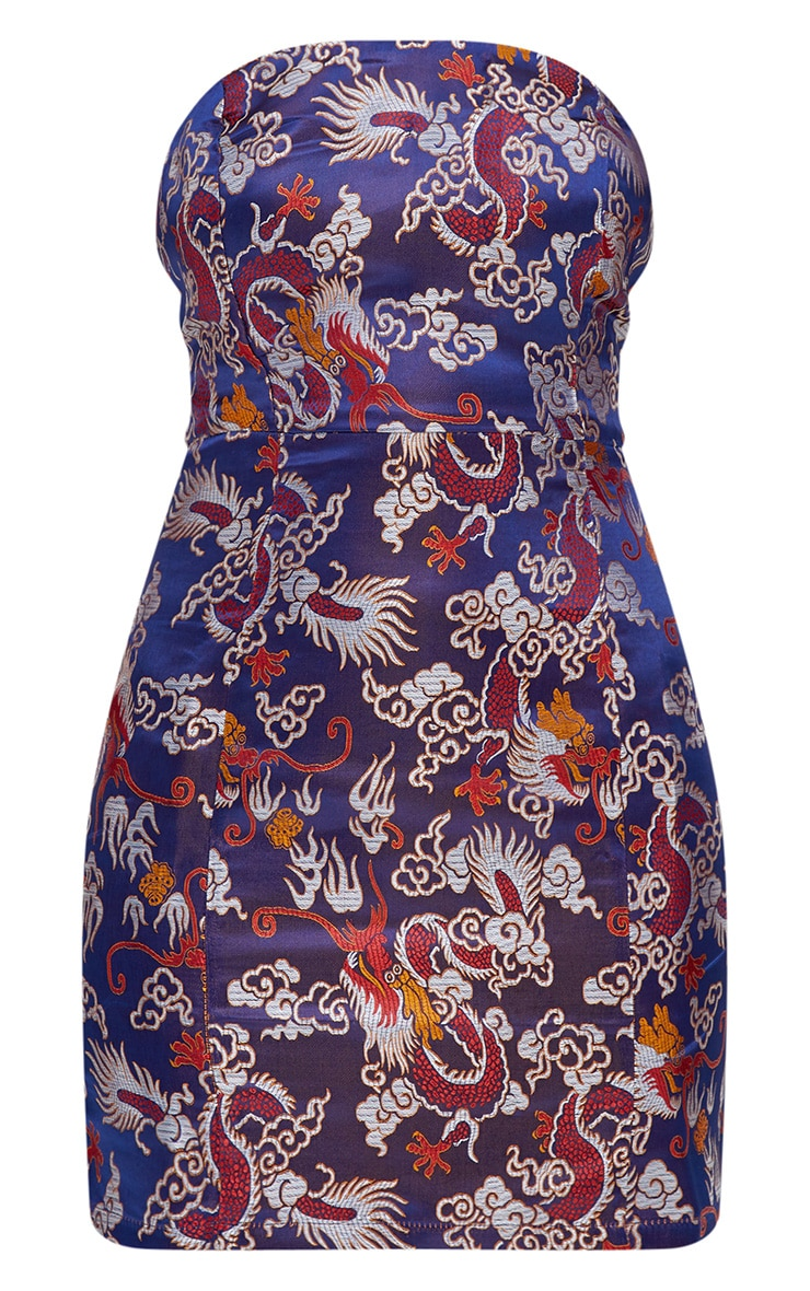 Blue Oriental Print Bodycon Dress 3