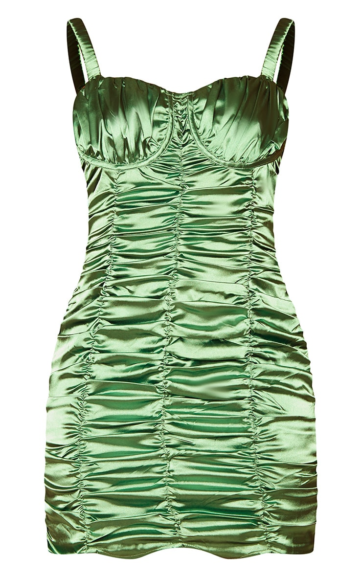 Olive Satin Ruched Cup Detail Elastic Strap Bodycon Dress 5