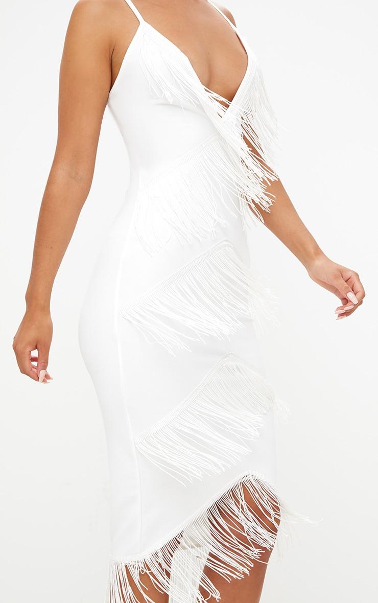 White Strappy Tassel Longline Midi Dress 5