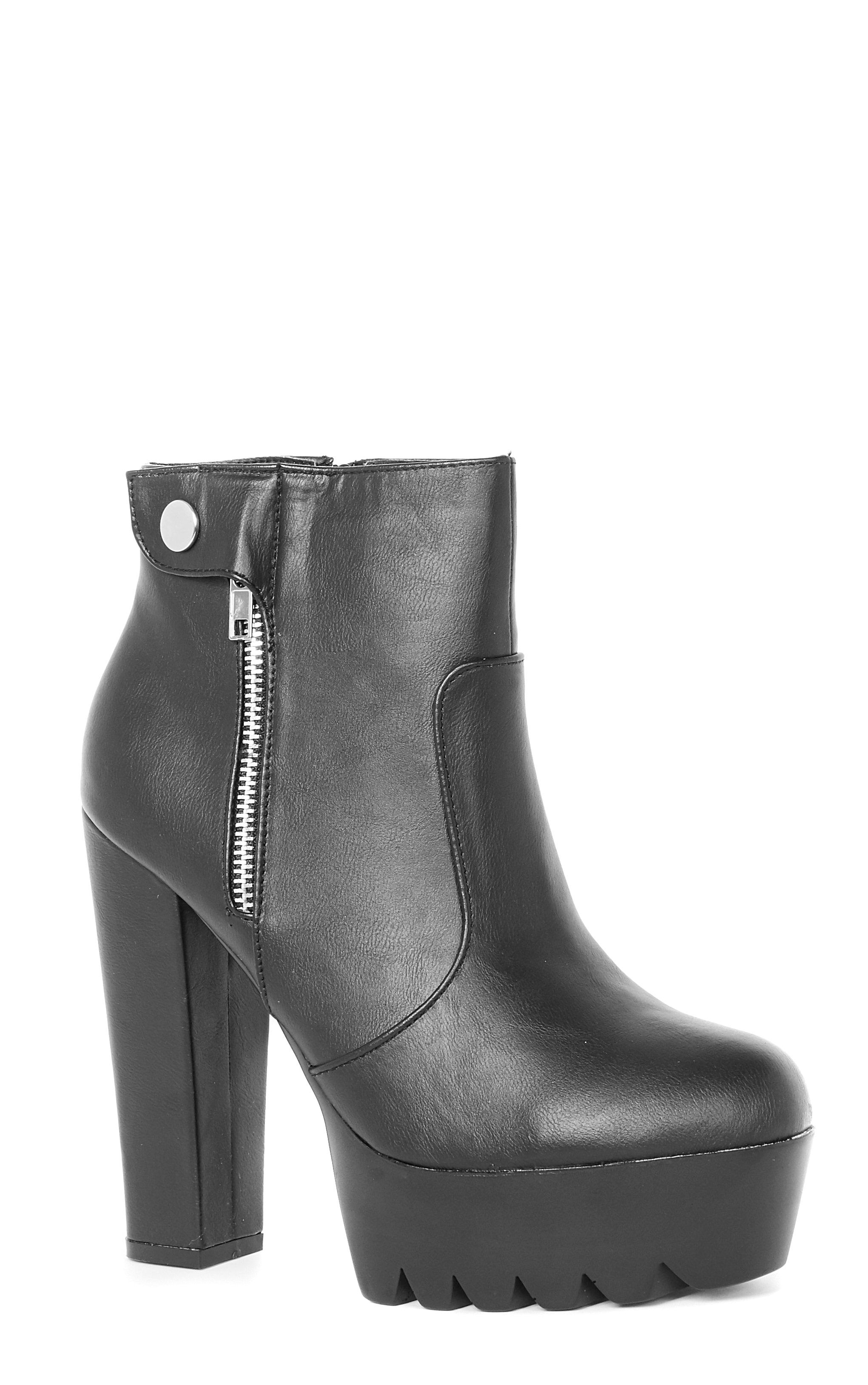 Liberty Black Cleated Sole Zip Detail Boot  2