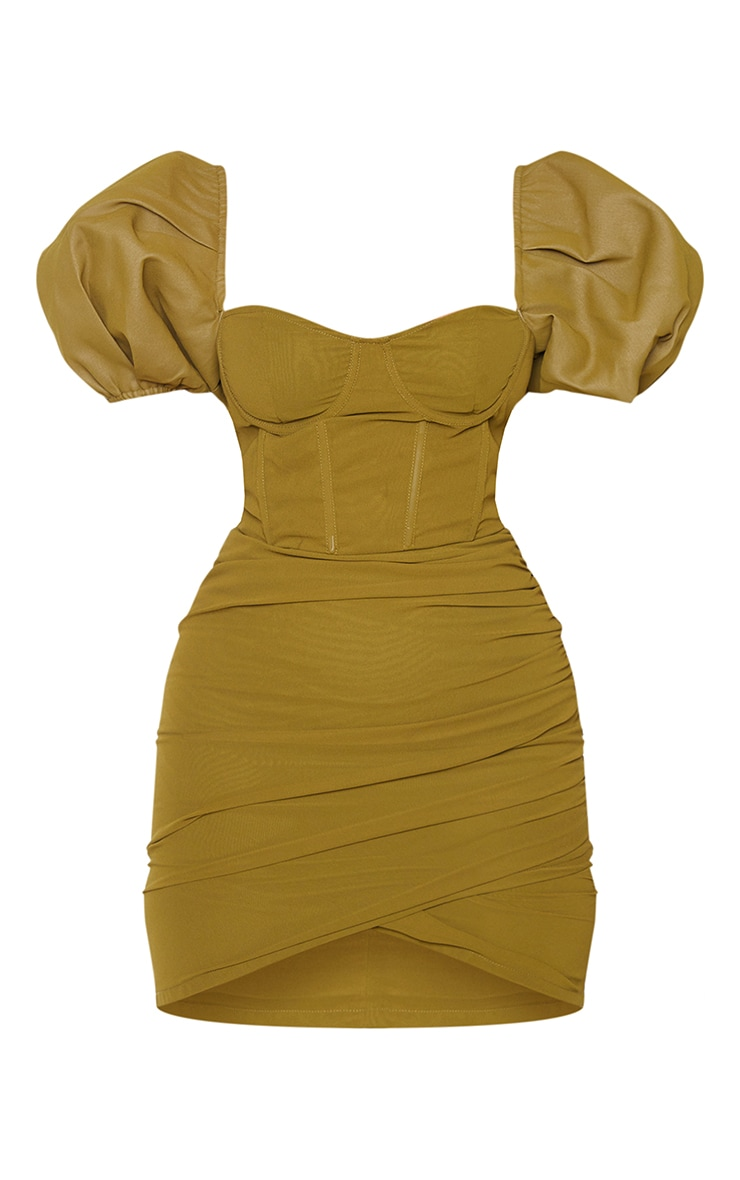 Olive Binding Detail Ruched Hem Bodycon Dress 5