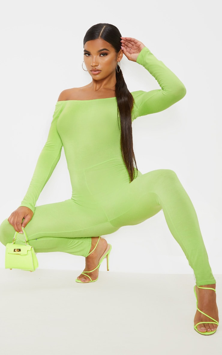 best selection of clear-cut texture affordable price Lime Bardot Long Sleeve Jumpsuit
