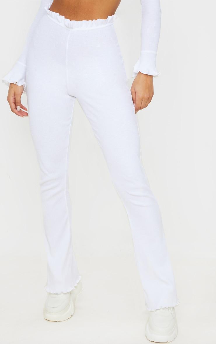 White Rib Frill Detail Wide Leg Trouser 2