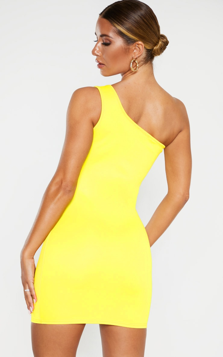 Yellow One Shoulder Strap Detail Bodycon Dress 2